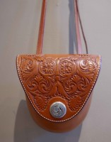 Hand Tooled Leather Shoulder Bag with Sterling Silver Snap / Cary Schwarz / 24.00x6.00 / $1680.00