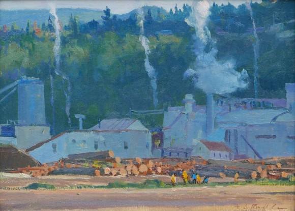 Sawmills at Hood River / G. Russell Case / 12.00x16.00 / $3200.00