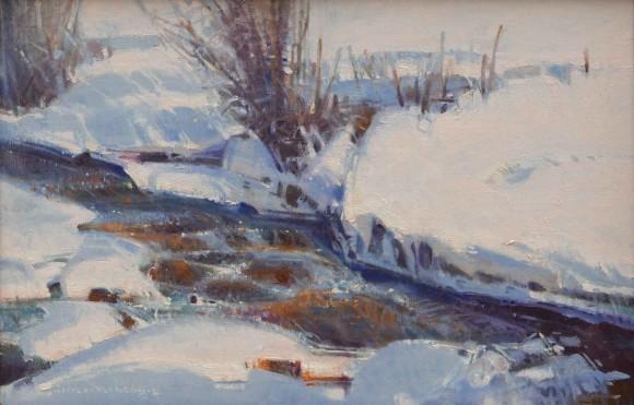 Winter Stream with Mink Tracks / Jim Morgan / 12.00x18.00 / $4100.00