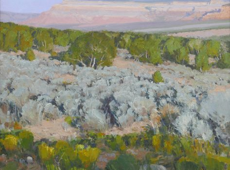 Desert Theatrics by Len Chmiel, 25 h. X 31 w. , oil on linen