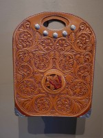 Hand Tooled Leather Tote Bag with Silver Engraving and 14k Gold Corners  / Cary Schwarz / 14.00x11.00 / $7500.00