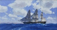 Clipper Ship Westward Ho Approaching the California Coast, January 1853 / Christopher Blossom / 20.00x36.00 / $35000.00