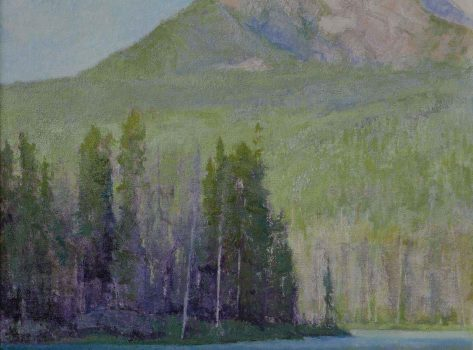 Shadows-of-Morning-Light,-Redffish-Lake-by-Amy-Sidrane-32'-high-X-32'-wide,-oil-on-linen-board,-Price-$11,500.00