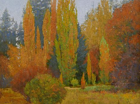 Lombardy Poplars of Medimont by George Carlson, 42 high X 36 wide, oil on linen $77,000.00